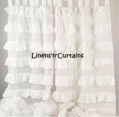 2 Panel WHITE VOILE Sheer Ruffle Curtains - Light Weight Curtains Panel Window Treatment