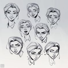 So many moods. These sketches were made as part of a series of commission… Moods! So many moods. Character Sketches, Character Design Animation, Character Design References, Character Drawing, Character Illustration, Art Sketches, Face Illustration, Drawing Cartoon Faces, Cartoon Art