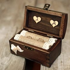 "Personalized wedding ring box. Rustic wooden by collectivemade on Etsy. 12 cm x 8 cm x 7 cm (4,7"" x 3,1"" x 2,8"").  $25.00"