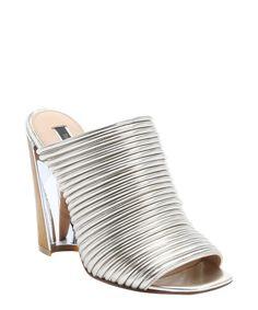 Rachel Zoe light gold mirrored leather 'Seneca' mule sandals