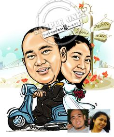 I make this Caricature especially for them. It was for their wedding photo album.