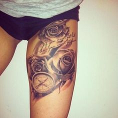 30 Sexy Thigh Tattoos For Women, I like this idea for a sleeve on my arm actually by leticia