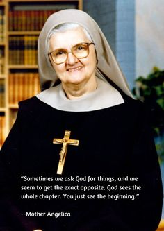 After founding EWTN in 1981 and serving as an on-air host for two decades of live programs, Mother Angelica left behiind a treasury of wit and wisdom. Catholic Religion, Catholic Quotes, Catholic Prayers, Catholic Saints, Religious Quotes, Roman Catholic, Adoration Catholic, True Religion, Mother Angelica