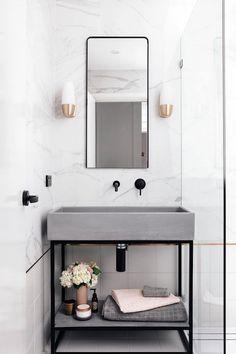 tendance salle de bain industrielle lavabo béton meuble métal