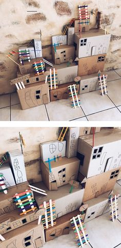 Build your own cardboard box town! Fun kids crafts and play activities from the . - Box , Build your own cardboard box town! Fun kids crafts and play activities from the . Build your own cardboard box town! Fun kids crafts and play activi. Kids Crafts, Arts And Crafts, Cardboard Crafts Kids, Cardboard Boxes, Cardboard Box Ideas For Kids, Summer Crafts, Kids Craft Box, Cardboard City, Cardboard Playhouse