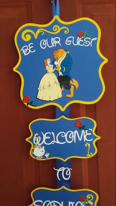 Beauty and the Beast Happy Birthday Door Sign by CnCpartycreations