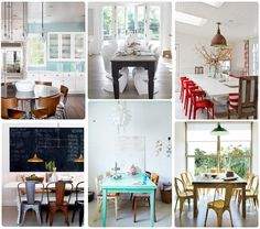 I love the mixtures of styles in these dining rooms. I particularly adore that teal/turquoise table in the bottom center. Found via dwellinggawker.com. Photos from madefromscratch.co.nz.