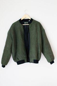 Robert Stock Silk Bomber Jacket Size Large by UrbanVintageCo, $29.00
