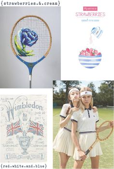 lily&Bloom . inspired#10 . { Wimbledon . tennis . hues of red / white / & / blue . pleats / stripes . & . strawberries & cream } .