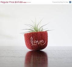 "felted wool bowl - sangria pink felted bowl with embroidered white cotton word ""love"" -  air plant holder -catchall by theFelterie on Etsy"