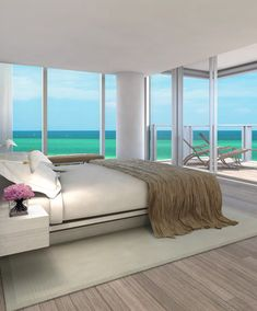 Another luxury condo has sold at The Residences at the Miami Beach Edition, an ultra-exclusive hotel/condo project set to open in April of Luxury Condo, Luxury Homes, Luxury Penthouse, Luxury Decor, Miami Beach Edition, Dream Beach Houses, Floor To Ceiling Windows, Bedroom Themes, Bedroom Ideas