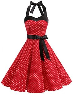 DRESSTELLS Neckholder Rockabilly Polka Dots Punkte Vintage Retro Cocktailkleid Petticoat Faltenrock Red Small White Dot L Bekleidung 1950s Fashion Dresses, Vintage 1950s Dresses, Retro Dress, Vintage Clothing, Pin Up Dresses, Pretty Dresses, Casual Dresses, 50 Style Dresses, 60s Dresses