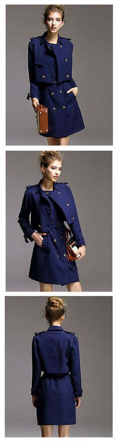 My my ,... all in one - formal chic dress + jacket in solid navy blue colors at €75.45 only. A must have this spring.