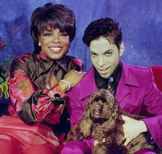 Great shot of Prince, Oprah Winfrey and one of her dogs.