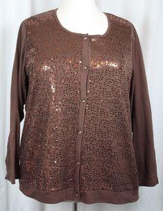 Quacker Factory Womens Brown Sequin Button Front Long Sleeve Knit Sweater 2X NWT #QuackerFactory #Cardigan #Versatile