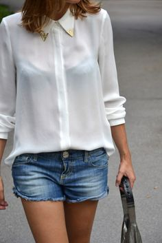 Short jeand and white blouse