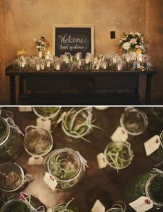 one of my weddings!  these weren't escort cards, they were guest take-a-ways, but air plants in mason jars would make for great escort cards, too :)