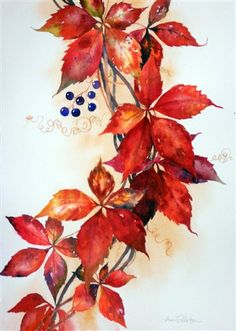 Berry Nice Vine by Ann Fullerton Watercolor Leaves, Watercolor Cards, Watercolor Flowers, Watercolor Paintings, Autumn Illustration, Art Corner, Autumn Painting, Color Pencil Art, Leaf Art