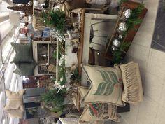 Nov.,2012 - burlap pillows & runners, painted furniture, repurposed old toolboxes.