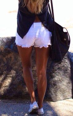 white shorts + converse