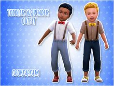 ⏩ Toddler Suspender Outfit ⏪ ⏩ Here are some cute suspender outfits for you little charmers that I converted from the get to work pack BUT it's basegame compatible! ⏩ There are 10 colours included and...