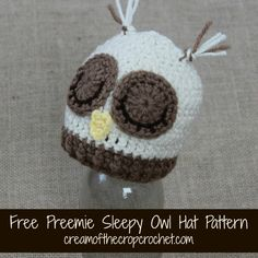 This preemie sleepy owl hat is neutral for a girl or boy! Maybe you could donate one! Make sure to share your finished project on my Facebook Page! I love to see your color combinations!