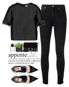 """- Noir Appetite -"" by lolgenie ❤ liked on Polyvore featuring Yves Saint Laurent, Iris & Ink, Byredo, Lux-Art Silks and Chloé"
