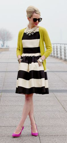 Bold stripes + fun colors - my kinda style