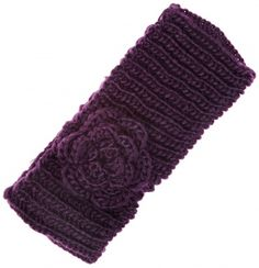 Dark Purple Knitted Flower Headband - Vintage clothing from Rokit -