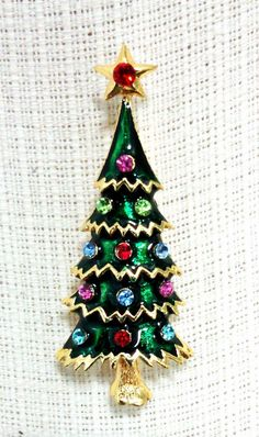 Christmas Tree with Red Star Crystal on Top Rhinestone Pin.