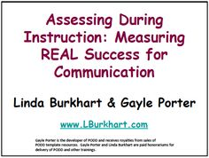 presentation re: assessment procedures + measurable goals for kids w/ CCN.