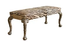 """Absolutely fabulous Etienne Bench from Gina Berschneider. Shown in a 31 year old hair on cowhide and finished with HOULÈS """"Spaniard's Hat"""" nail heads. This is fashion, not furniture!"""