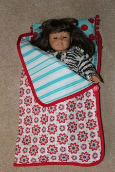 how to make a doll sleeping bag - Hmmm, maybe simplify by reusing some left over baby blankets?