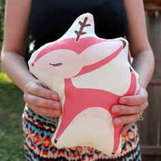 Deer Pillow in Pink MADE TO ORDER by Gingiber on Etsy, $20,00