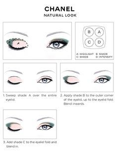 Link actually has diagrams for four looks: Natural, Almond, Intense, and Smoky. Also shows how a particular Chanel palette looks using each look. -rhc