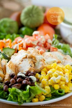Southwestern Chicken Salad: A flavorful salad packed with healthy, delicious toppings, and a dressing so good you could eat it with a spoon. - Eazy Peazy Mealz Healthy Salads, Healthy Eating, Healthy Recipes, Meal Salads, Spinach Salads, Southwestern Chicken Salads, Southwestern Ranch, Clean Eating, Soup And Salad