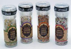 Trader Joe's Set of 4 Sea Salts with Built-In Grinders: Chili & Garlic Smoked | Edible Flowers | Tropical Pepper | Thyme, Lemon, & Bay - http://spicegrinder.biz/trader-joes-set-of-4-sea-salts-with-built-in-grinders-chili-garlic-smoked-edible-flowers-tropical-pepper-thyme-lemon-bay/