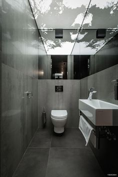 """This modern home interior is a project designed by YoDezeen, covers an area of sq. and is located in Kiev. """"One of our typical twilight interiors. Apartment Interior, Home Interior, Bathroom Interior, Apartment Design, Simple Bathroom Designs, Contemporary Baths, Contemporary Interior, Dark Interiors, House Inside"""