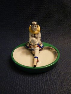 I love her face and expression. Commedia, Pierrot, Vintage Ashtray, Up In Smoke, Noritake, Art Deco Jewelry, Pin Cushions, Trinket Boxes, Luster