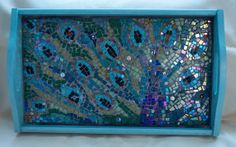 Peacock Mosaic Tray by ButterflyMosaicsUK on Etsy, £185.00