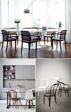 Discover more of the best Interior, Design, Thonet, Bentwood, and Chairs inspiration on Designspiration Bentwood Chairs, Dinning Chairs, Bistro Chairs, Table And Chairs, Dining Room, Furniture Decor, Interior Design, Studio, Work Spaces