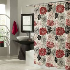 Gorgeous black and red flowers surround this shower curtain in a wonderful display of color