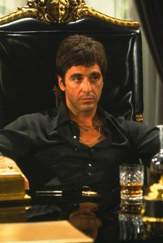 """Al Pacino in """"Scarface"""" """"a cocaine cowboy"""" in Miami. Scarface Quotes, Scarface Poster, Scarface Movie, Mafia, Movie List, Movie Tv, Dope Wallpapers, Phone Wallpapers, Shotgun Wedding"""