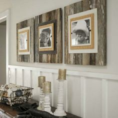 """Use pallets to make these  Extra large frames (22"""" x 22"""") with a burlap wrapped interior frame to feature an 8"""" x 10"""" photo. Easy front loading, clamping system  under Plexiglas makes photo...like the board and batten look with the older wood."""