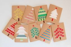 Easy DIY Holiday Crafts - Forest of Fabric - Click pic for 25 Handmade Christmas Cards Ideas. Use fabric, ribbon or washi tape. Christmas Card Crafts, Homemade Christmas Cards, Christmas Cards To Make, Christmas Wrapping, Handmade Christmas, Homemade Cards, Holiday Crafts, Christmas Decorations, Christmas Trees
