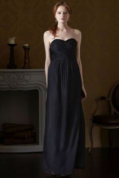 Eden Bridesmaid Dress Long Chiffon Gown With Ruching Sweetheart Bodice Black Bridesmaids