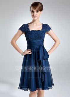 Mother of the Bride Dresses - $132.99 - A-Line/Princess Square Neckline Knee-Length Chiffon Lace Mother of the Bride Dress With Ruffle Bow(s) (008006166) http://jjshouse.com/A-Line-Princess-Square-Neckline-Knee-Length-Chiffon-Lace-Mother-Of-The-Bride-Dress-With-Ruffle-Bow-S-008006166-g6166