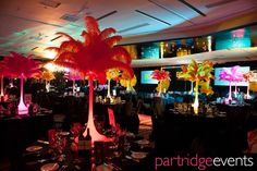 Bright, feathered table centers for 'Carnival' themed party by Partridge Events Carnival Themed Party, Carnival Themes, 25th Birthday, Birthday Celebration, Notting Hill Carnival, Brazil Carnival, Table Centers, Upcoming Events, Ladies Party