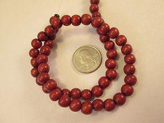 Wood Beads Brick Red Wood Beads 8mm Dark Red Round Beads by FLcowgirls