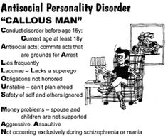 the description of the anti social personality disorder Definition and symptoms of antisocial personality disorder antisocial personality disorder is a type of character style that becomes apparent by age 15 at the.
